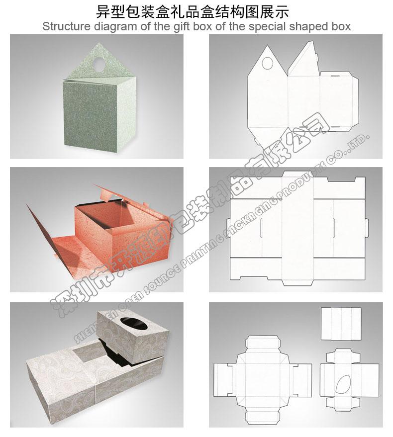折叠彩盒卡盒异形包装盒型结构图展示 品质第一、诚信服务、价格合理、出样及时、准时交货! 起订量:1000个,没有现货,需要设计的请给设计要求,需要下单的亲请提供设计文件或者盒子原样! 订制流程: 1、报价:根据设计文件要求或产品原样报价。 2、打样:根据设计文件要求制作样品;样品制作费100--800元不等,依据样品制作的复杂承度而定,合作成功样品制作费可抵货款。 3、确认样品:将制作完成的样品交客户确认。确认内容包含:材质、结构、工艺、印刷内容、报价(产品报价以打样确定后的报价为准)。 4、订金:货款总