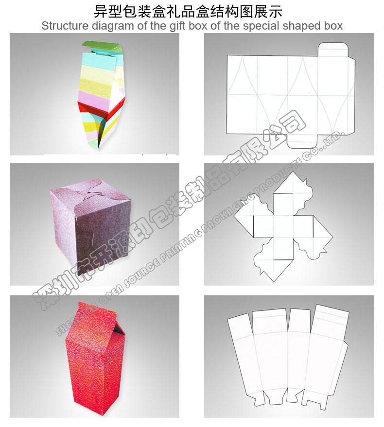 折叠彩盒卡盒异形包装盒型结构图展示